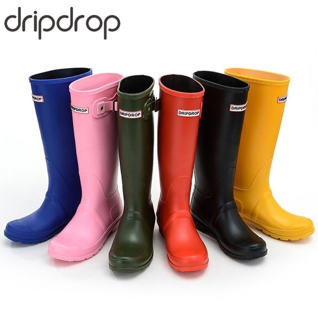 DRIPDROP Original Hoch Regen Stiefel für Frauen Britischen Klassische Wasserdichte Rain Damen Gummistiefel Wellington Matte Stiefel