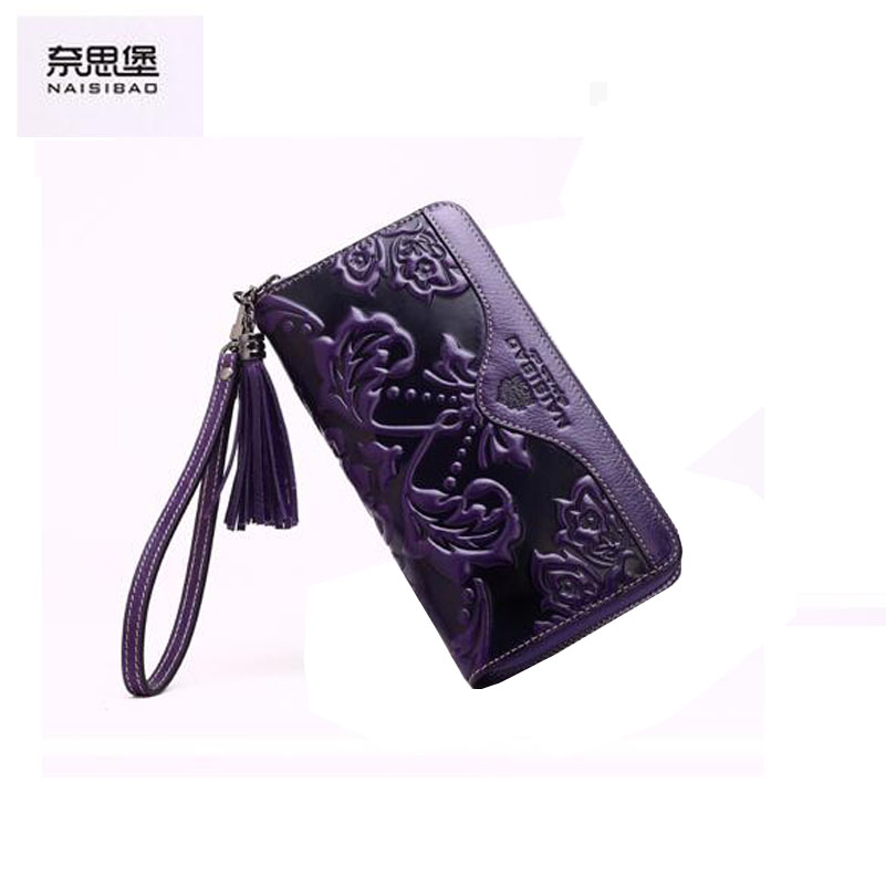 ФОТО 2016 New Women genuine leather wallet brands fashion purse quality leather embossing clutch bag women wallets
