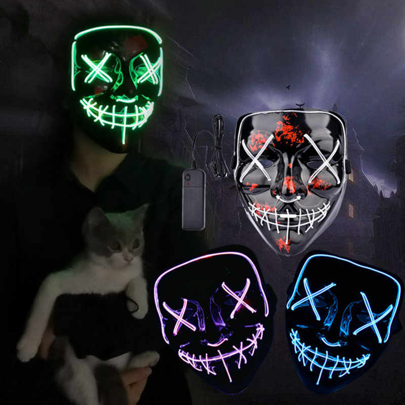Máscara de Halloween LED Maske Maska Acender Máscaras Do Partido Neon Cosplay Mascara Horror Masque Mascarillas Brilham No Escuro V para vendetta