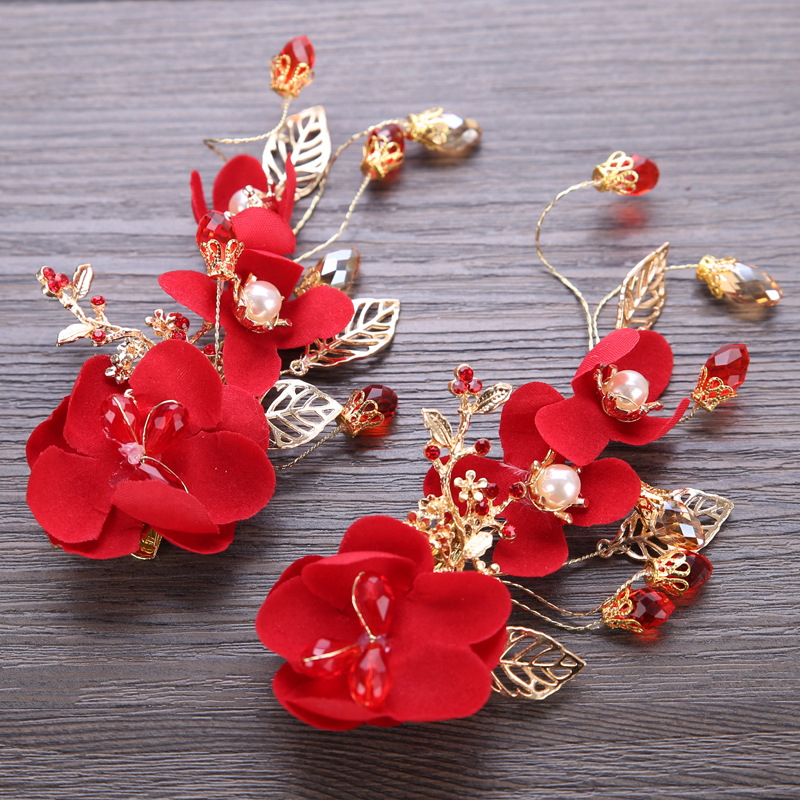 Fashion Red Flower Hair Cilp Bridal Wedding Hair Accessories Pearl Gold Leaf Women Party Headband Headpiece
