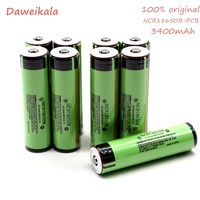 10PCS Original 18650 3400mAh battery 3.7V Li ion Rechargebale battery PCB Protected For NCR18650B 18650 3400