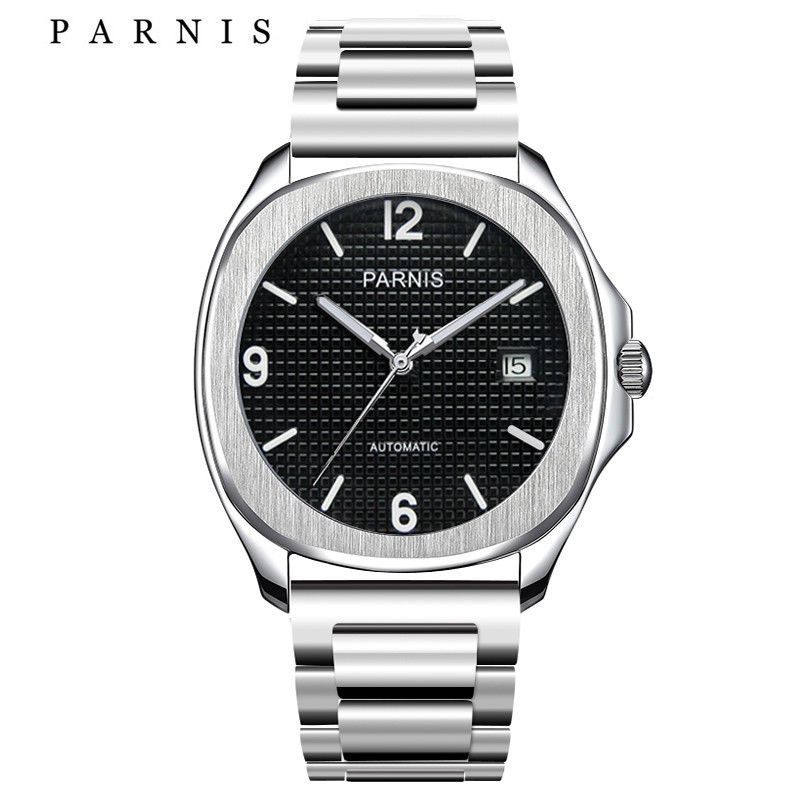 <font><b>Parnis</b></font> <font><b>40mm</b></font> <font><b>watch</b></font> MIYOTA square case sapphire glass black dial luminous bracelet Automatic movement Men's <font><b>watch</b></font> men 1049 image