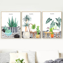Gohipang Watercolor Cactus Succulents Plant Potted Wall Art Canvas Painting Nordic Posters And Prints Pictures Living Room