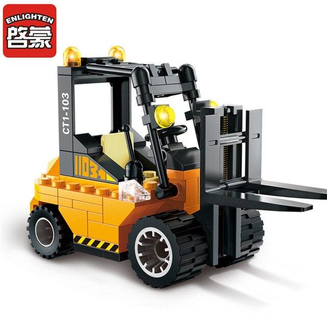 ENLIGHTEN 115pcs Forklift Model Building Blocks Kits Toys for Children Educational DIY Assembling Bricks Block Toy Kids Gifts