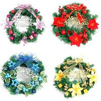 Christmas Wreath Garland Ornament Xmas Hanging Pendant Christmas Tree Decoration Window Door Ceiling Decor Supplies 40cm