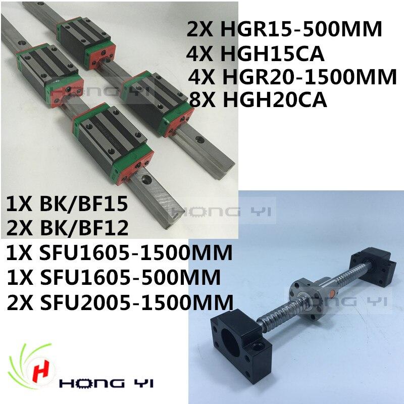 2 x HGH15 500MM Square Linear guide+4pcs HGR20 1500MM HIWIN+2 x SFU / RM1605 Ballscrew sets + BK BF12 + 2pcs sfu2005 with bkbf15 12 hbh20ca square linear guide sets 1 sfu1605 450 2sfu2010 1700mm ballscrew sets bk bf12 bkbf15 3 jaw flexible coupler