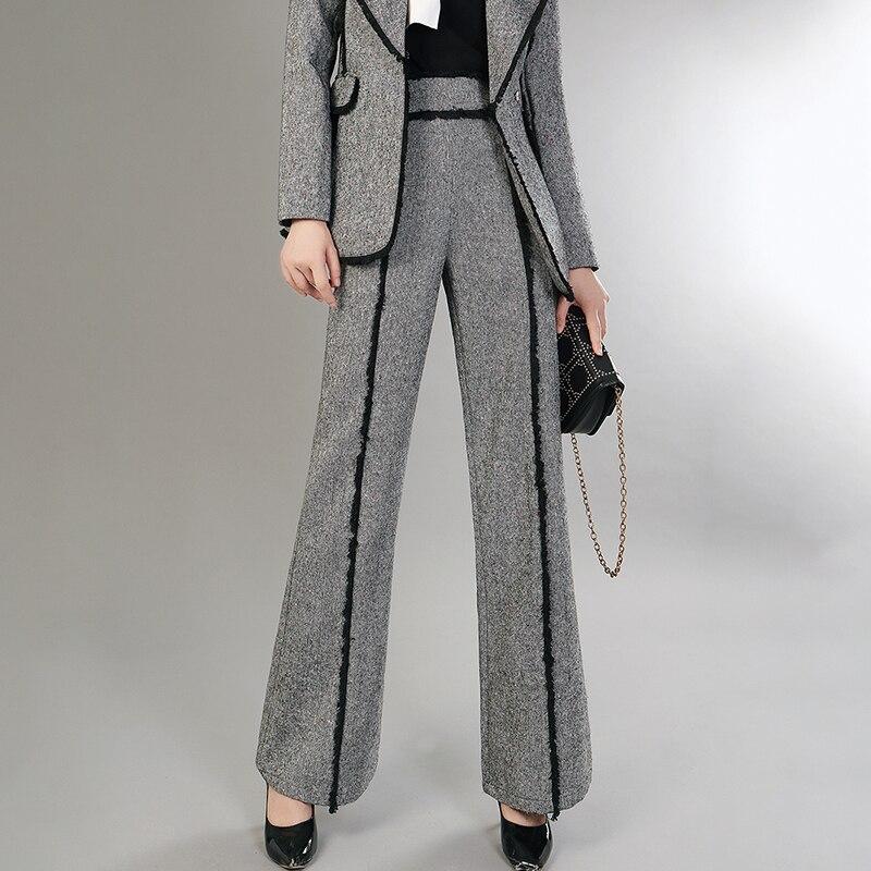 Pierna Gris Yf60702 Mujer Nueva Seide Lana De Cremallera Pantalones Para Alta Cintura Ancha 2018 Lanmrem Sueltos Moda Patchwork Borla PAxang