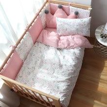 Conjunto de cama do bebê para recém nascidos de algodão macio berço conjunto de cama com pára choques para a menina roupa de cama para o miúdo do berçário do bebê decoração feito sob encomenda