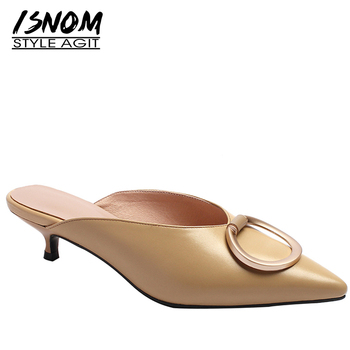 ISNOM Cat Heels Med Slippers Woman 2019 New Women Slides Shoes Female Solid Mules Concise Shoes Summer Metal Decoration Shoes