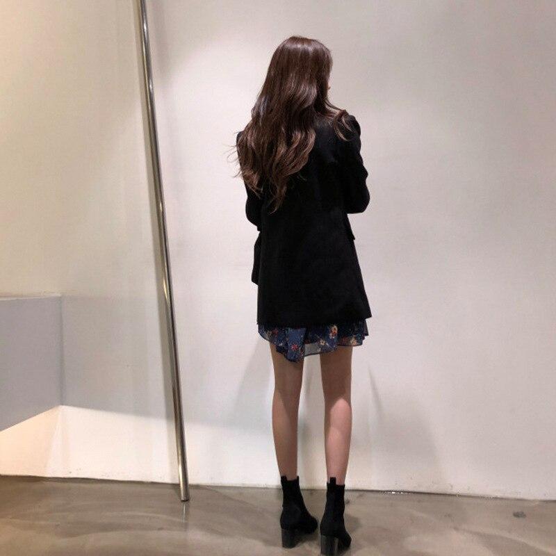 2019 New Korean Edition Spring Casual Temperament Suit Korean Version Doubles Buckle White Suit Tide Women Jackets And Coats