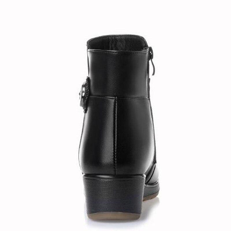 Zapatos Nuevas Cómodo Caliente Invierno 2018 Botas Mujeres Más Genuino Martin Negro Del Cuero Nieve Metal Terciopelo De Rhinestone aIdd7fq