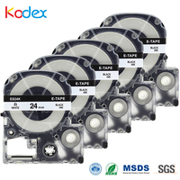 Kodex 5pcs SS24K label tape 24mm Standard LK compatible Epson/ King Jim for LW 600, LW 700 black on white Printer Ribbon