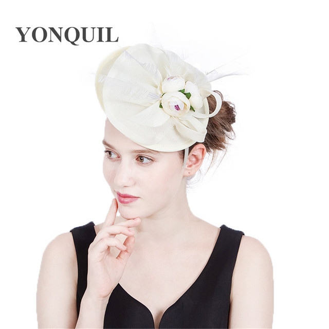 d16fee63e294a Ladies fancy races wedding hats fascinators bridal headpieces with flowers  party tocados sombreros bodas imitation sinamay hats