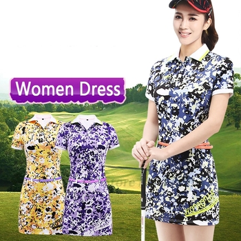 2017 Newest Women's Golf Dress Summer Golf apparel Floral Print Short Sleeve Polo Athletic Dress 86% Polyester 14% Spandex