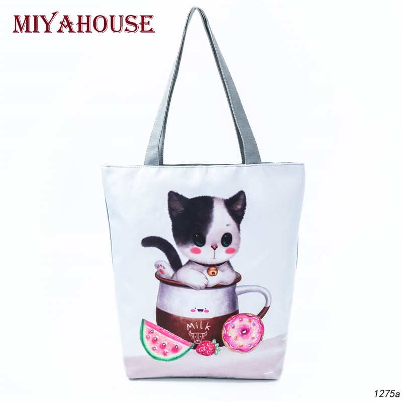 Cute Animals Printing Women Shoulder Bags Summer Beach Bag Female Canvas Tote Handbags Lady Design Casual Shopping Bag