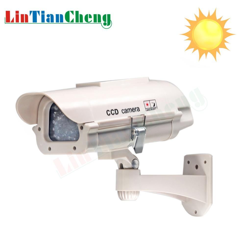 LINTIANCHENG Dummy Fake Camera Solar Powered Outdoor CCTV House Security Video Surveillance With Led Light Dummy Camera