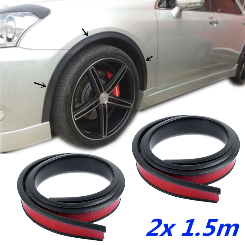 2pcs Rubber Car Wheel Protection Anti-Collision Strips Arch Protection Moldings Anti-Collision Fender Flares Protector