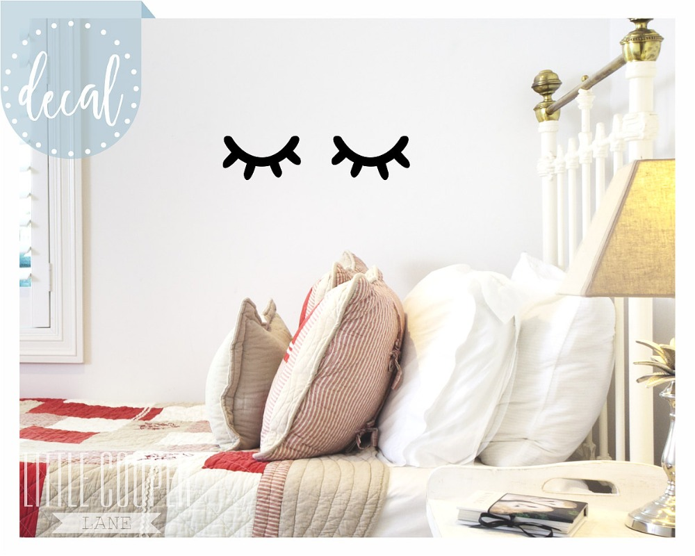 Sleepy Eyes Vinyl Wall Decal Sticker Closed Eyes Kids Decor Eyelashes Baby  Boys Or Girls Nursery OR Kids Room T170206 In Wall Stickers From Home U0026  Garden On ... Part 44