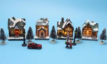 Xmas Decor Lighting up DIY Christmas Doll Figurine Artificial Tree Tiny Resin House Village (House village building Set of 4)