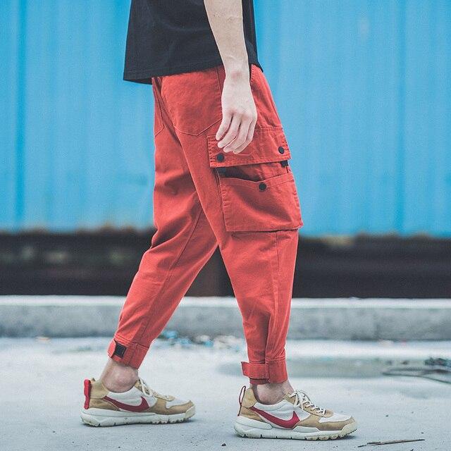 Multi Pockets Cargo Pants Ankle Length Jogger Jeans Men Fashion