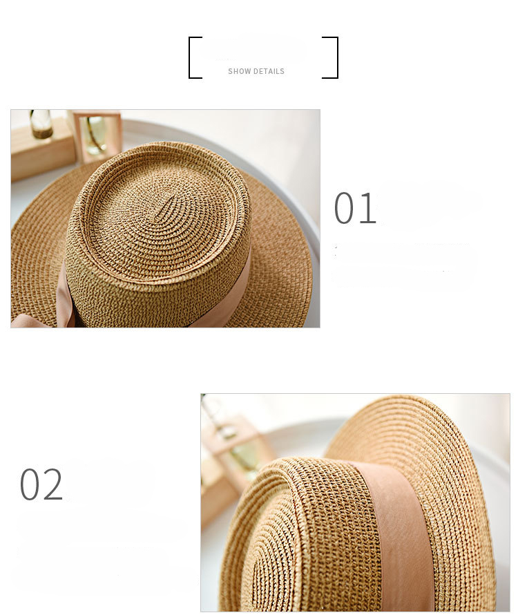 HTB1NLv8aIfrK1RkSnb4q6xHRFXan - Ymsaid New Summer Sun Hats Women Fashion Girl Straw Hat  Ribbon Bow Beach Hat Casual Straw Flat Top Panama Hat Bone Feminino