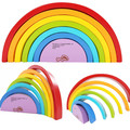 7Pcs/Lot Colorful Wood Rainbow Building Blocks Toys Wooden Blocks Circle Set Baby Colour Sort Play Game Toy Kids Christmas gift