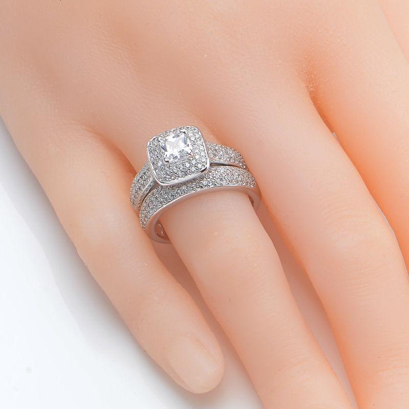 Newshe 2.26 Ct Princess Cut AAA CZ 925 Sterling Silver Halo Wedding ...