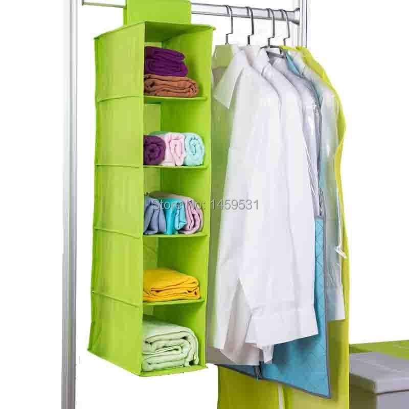 eb76597f89 Envío gratis 5 capas armario ropero bolsa ropa Organizador interior  sujetador caja de almacenamiento cesta colgante de pared Organizador en  Bastidores y ...