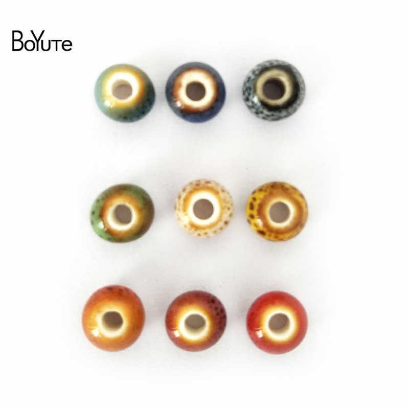 BoYuTe 50Pcs 6 มม.8 มม.เคลือบเซรามิค Porcelain DIY มือทำลูกปัดเครื่องประดับทำ