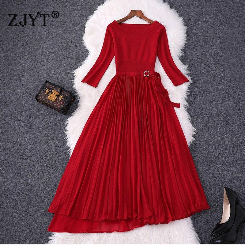 Marque de mode Designer femmes robe 2019 dame élégant tricoté Patchwork irrégulière plissée en mousseline de soie robe rouge fête Vestidos automne