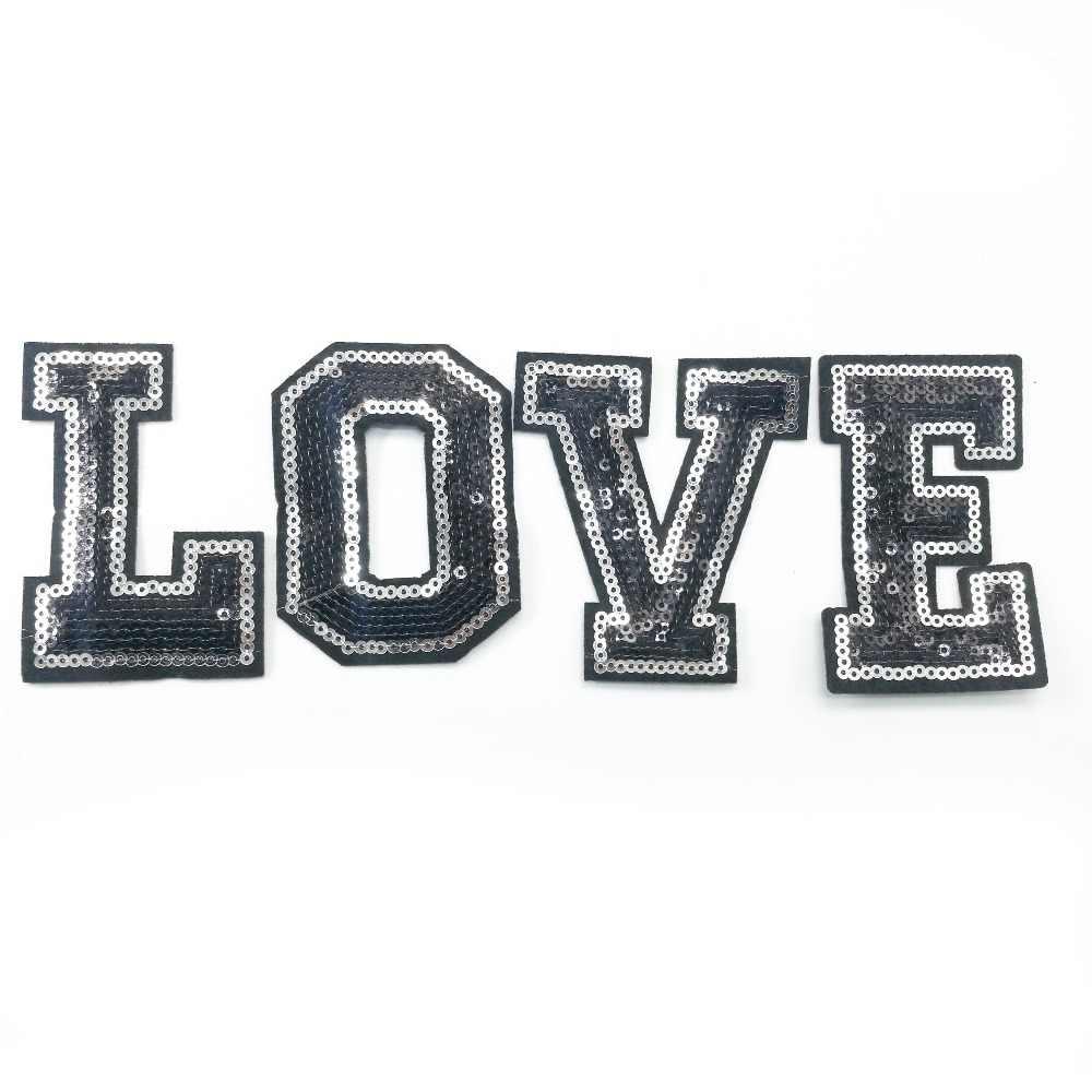 26 אותיות באנגלית האלפבית נצנצים תיקוני רקום ברזל על תיקון אותיות עבור בגדים שם תג להדביק חולצה ג 'ינס DIY