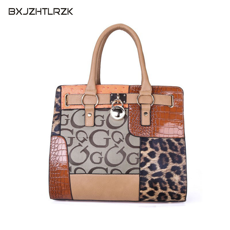 Autumn and Winter Office Lady Larger Capacity PU Leather Handbag Leopard Letter Pattern Designer Stiching Leather Woman Bag