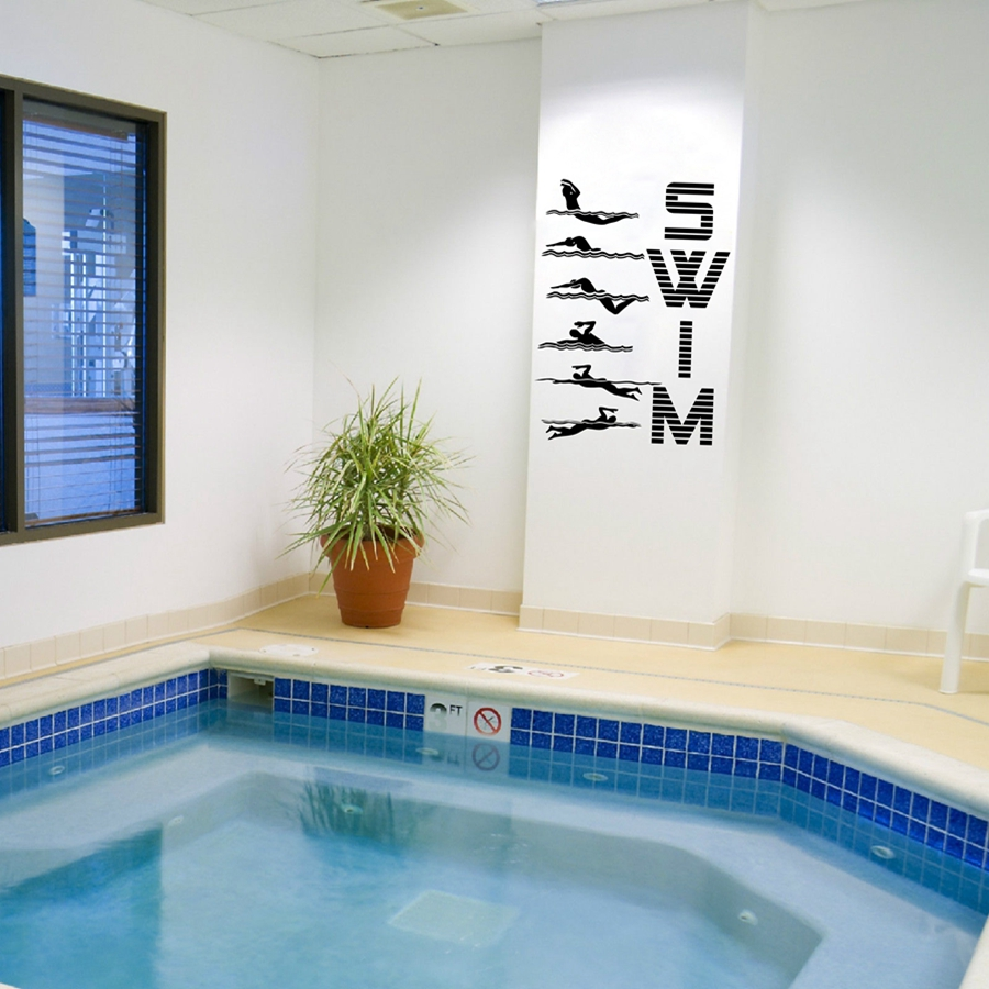 US $6.21 6% OFF|Water Sports Swimming Pattern Vinyl Wall Sticker Funny  Creative Art Decals For Swimming Pool Gym Home Living Room Decoration -in  Wall ...
