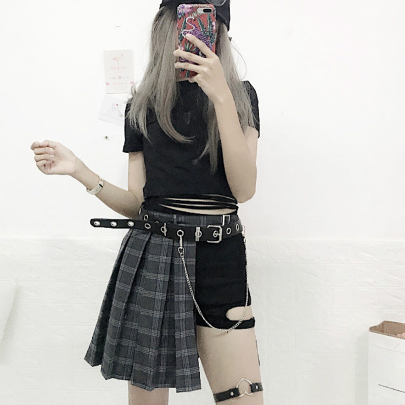 39715befc Harajuku Punk Style Plaid Irregular Skirts Women Asymmetrical High Waist  Skirts Pleated Girls Gothic Half Skirts Fashion Skirt | Herbert Edwin