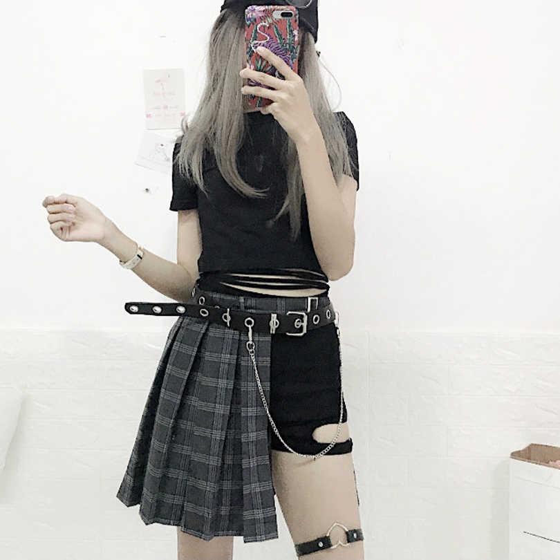 3093a539e Harajuku estilo Punk Plaid irregulares faldas mujeres asimétricas de  cintura alta faldas plisadas chicas gótico media falda de moda