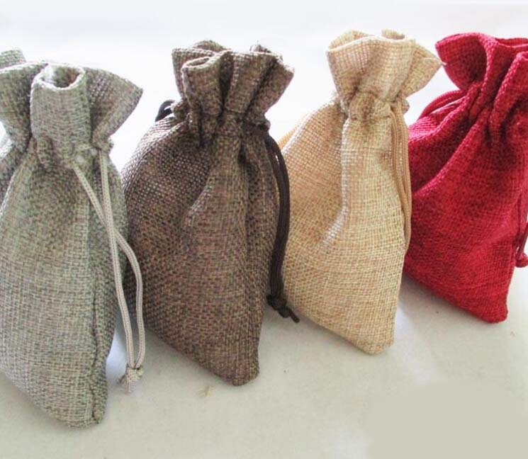 Us 39 94 15 Off Whole 100pcs 13 18 Cm Natural Color Jute Bag Burlap Drawstring Bags Gift Candy Beads For Storage Wedding Decor In