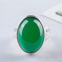 Long Baolong authentic 925 Sterling Silver Silver natural green chalcedony gem ring ring lady exaggerated food