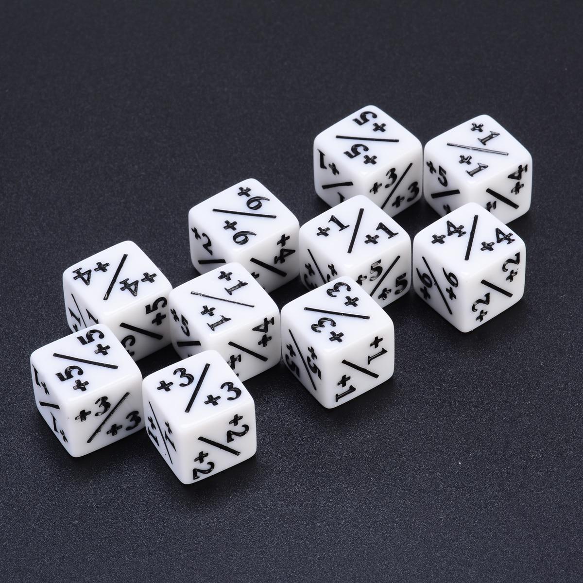 10 шт. белые счетчики кубиков + 1/1 для волшебных игр на сборке и MTG, вечерние игровые автоматы для покера, настольные забавные уличные кубики