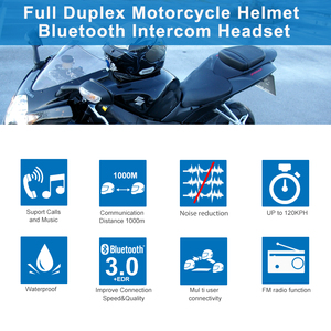 Image 2 - Fodsports 2 pçs BT S3 capacete da motocicleta bluetooth interfone moto capacete fone de ouvido à prova dwaterproof água bt intercomunicador fm