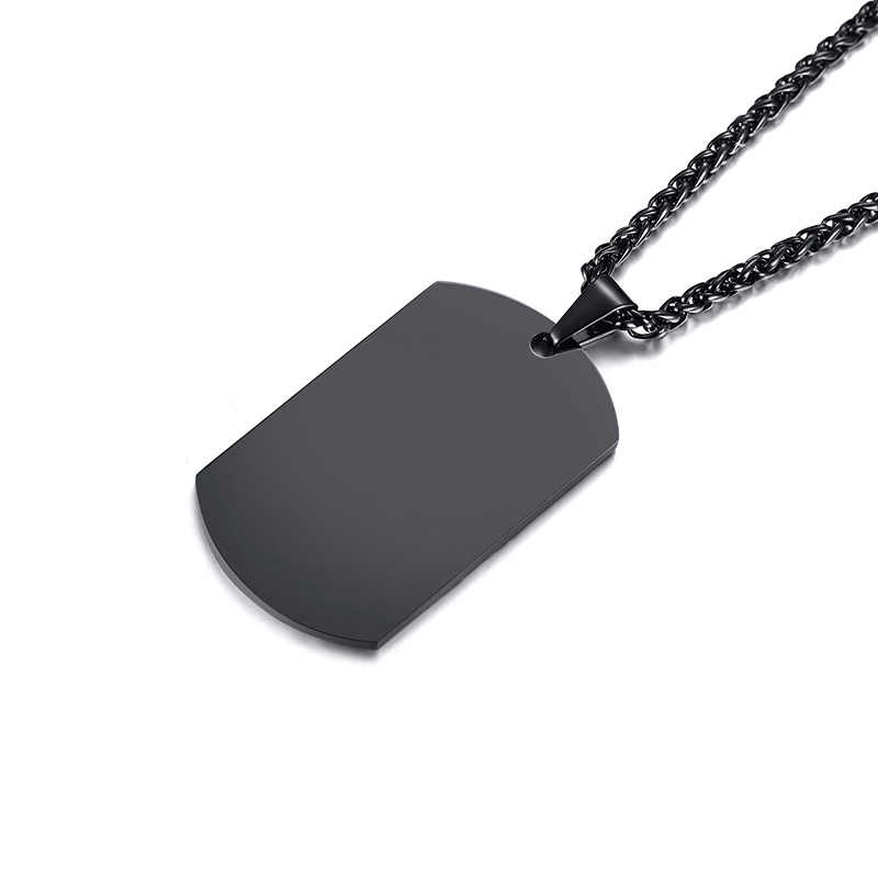 Vnox Stainless Steel ID Tag Necklaces Pendant Engrave Customized Logo Family Brother Men Jewelry