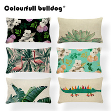 Tropical Plants Cushion Covers Cactus Pillow Cushion Aloe Vera Floor Decor Home Pillow With Cover Bird Green 30x50cm Polyester