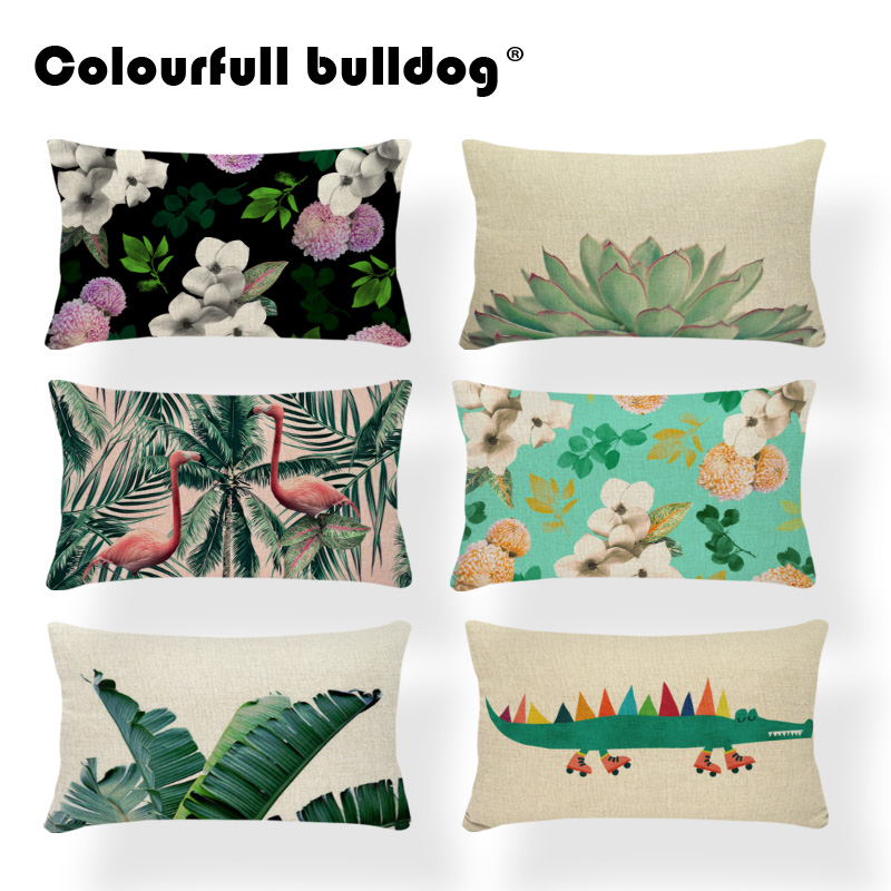 Tropical Plants Cushion Covers Cactus Pillow Cushion Aloe Vera Floor Decor Home Pillow With Cover Bird Green 30x50cm Polyester