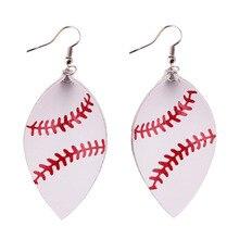 hot deal buy 2018 new trendy pu leather baseball leaf earrings for women fashion leather teardrop earrings sport jewelry softball earrings