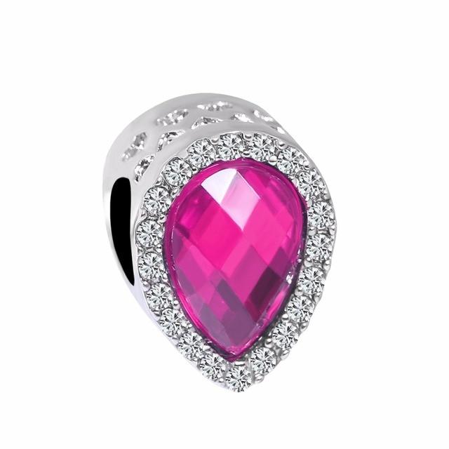63ea178b1c12 free shipping 1pc silver rose red purple lake blue red pink yellow bead  charms Fits European pandora Charm Bracelets A699