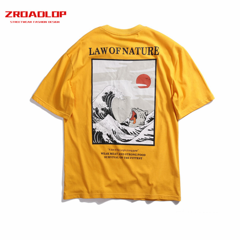 2019 Unisex Japanese Embroidery Humorous Cat Wave Printed T-Shirts Cotton Japan Type Hip Hop Informal T Shirts Streetwear Tees Tops