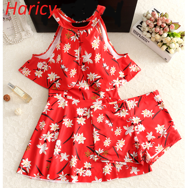 2017 Plus Size Red Floral One Piece Swimwear Skirt Bathing Suit High Neck Swimsuit Swim Beach Wear Swimming Dress for Women women beach dress swimwear big cup one piece fat vintage skirt high waist plus size swimsuit large size 4xl 9xl bathing suit