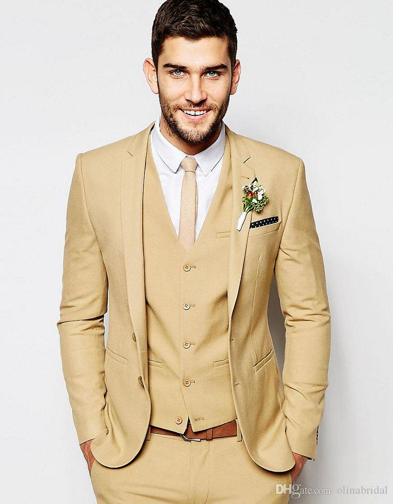 Fashionable Two Button Beige Groom Tuxedos Groomsmen Mens Wedding Suits Formal Dress (Jacket+Pants+Vest+Tie) NO:072