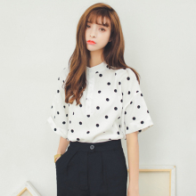 2017 Women'S Harajuku Lovely School Cotton Leisure Loose Wave Point Shirt Female Ulzzang Kawaii Blouses And Clothing For Women