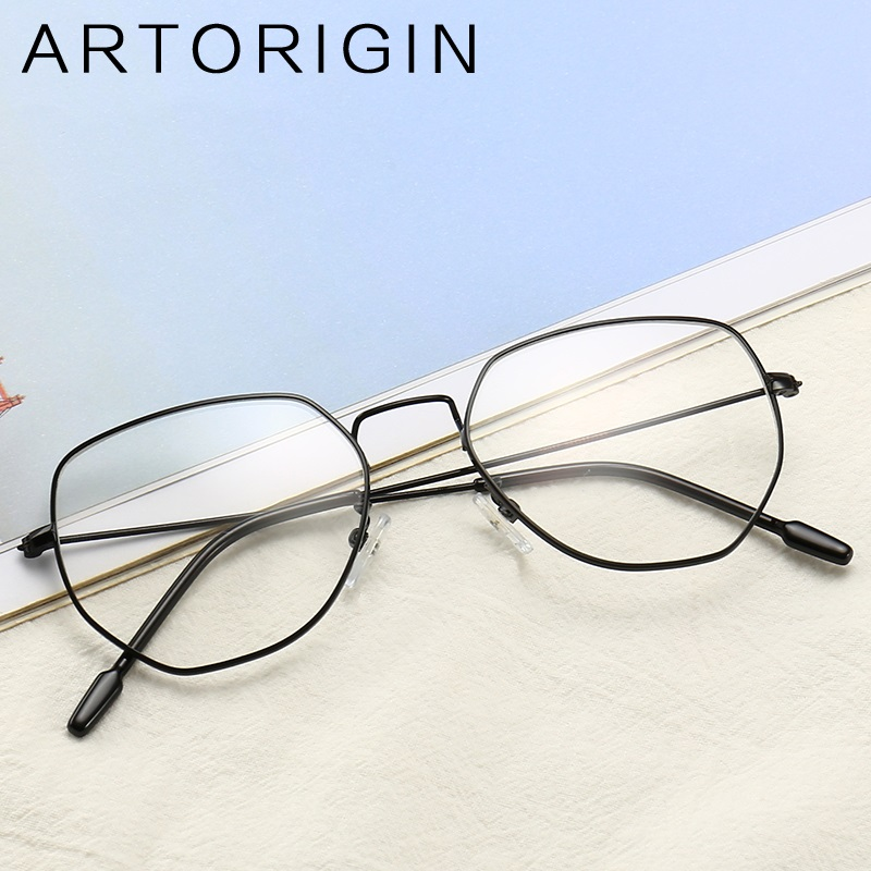 ARTORIGIN Stylish Irregular Glasses Frame Transparent Glasses Fro Women Flat Top Eyeglasses Metal Optical Frames Myopia