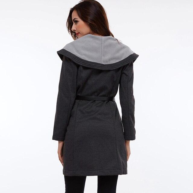 Clocolor Casual Long Coat Fashion Turn Down Collar Asymmetrical Office Ladies Elegant Winter Clothing Outwear Women Overcoat 4